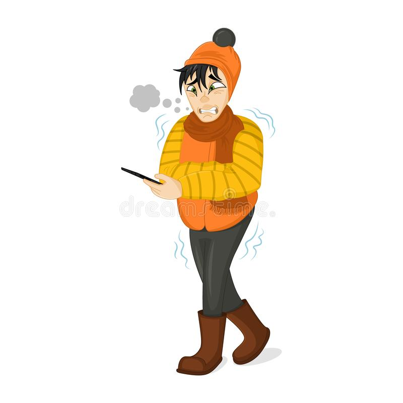 Vector Illustration of a Man in Winter Clothes Shivering Hard Because of the Cold. Freezing man tries to call a taxi. Sad boy vector illustration