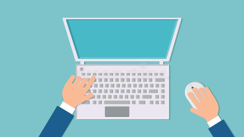 Vector illustration of a man working with his hands on a laptop computer with a mouse and keyboard on a blue background top view. Flat lay. Concept: computer royalty free illustration