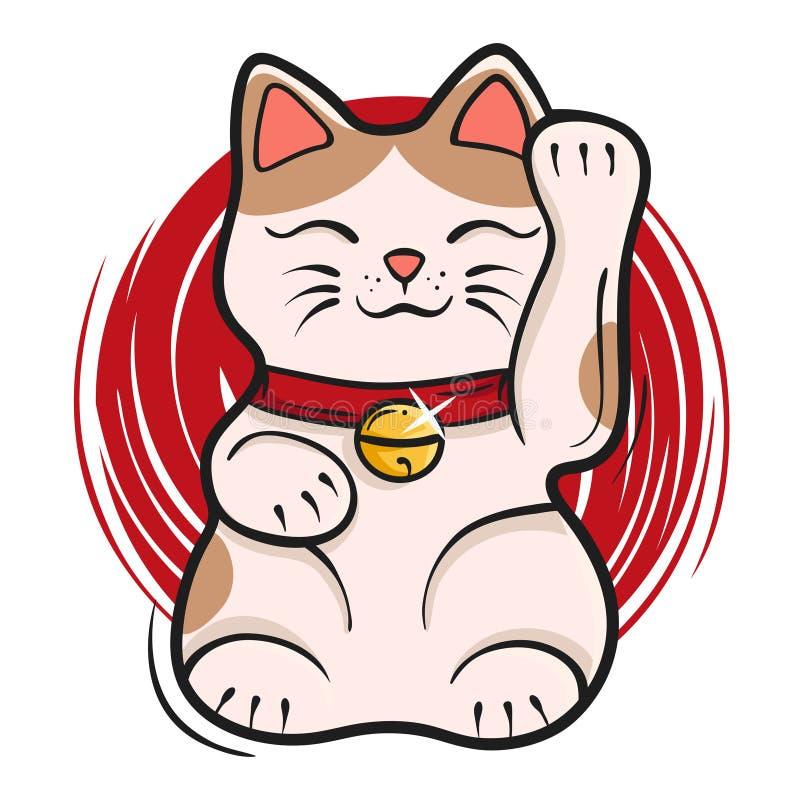 Vector illustration of maneki neko. Japanese lucky cat fortune stock illustration