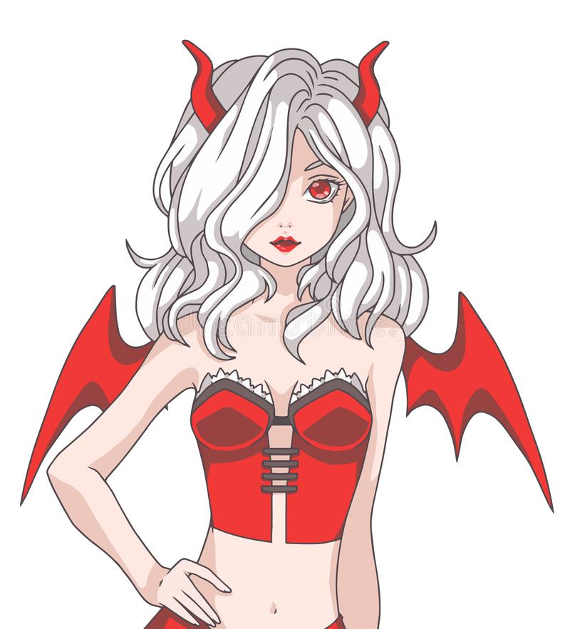 Vector illustration of Manga cartoon style girl with white hair wearing a red Halloween devil costume with wings and horns royalty free illustration