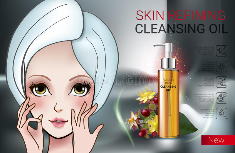 Vector Illustration with Manga style girl and skin cleansing oil. Deep Cleansing Oil ads. Vector Illustration with Manga style girl and skin cleansing oil bottle vector illustration