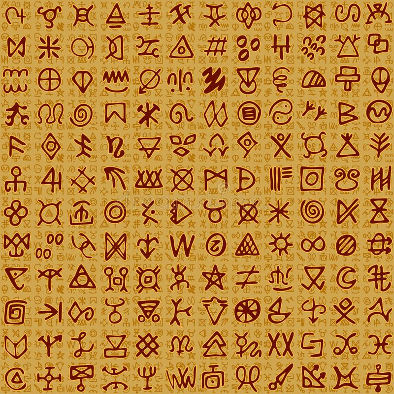 Vector illustration of Egyptian like ornaments and hieroglyphs on background stock illustration