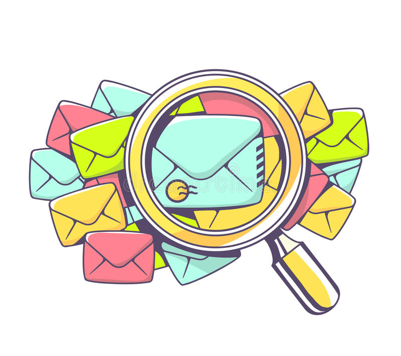 Vector illustration of many color envelopes and magnifying glass royalty free illustration