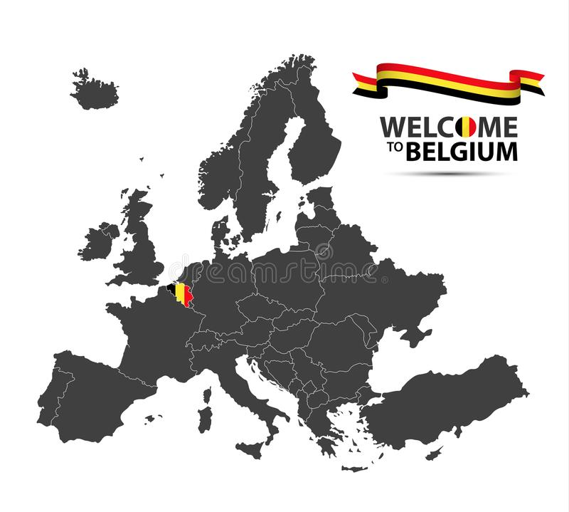download vector illustration of a map of europe with the state of belgium stock vector