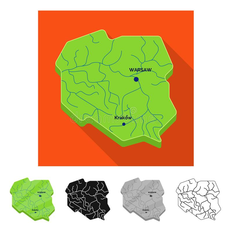 Vector illustration of map and polish symbol. Collection of map and europe stock vector illustration. Isolated object of map and polish sign. Set of map and royalty free illustration