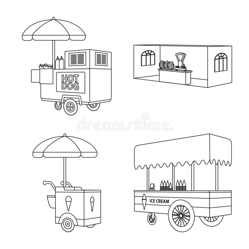 Vector design of market and small icon. Collection of market and food vector icon for stock. Vector illustration of market and small symbol. Set of market and royalty free illustration