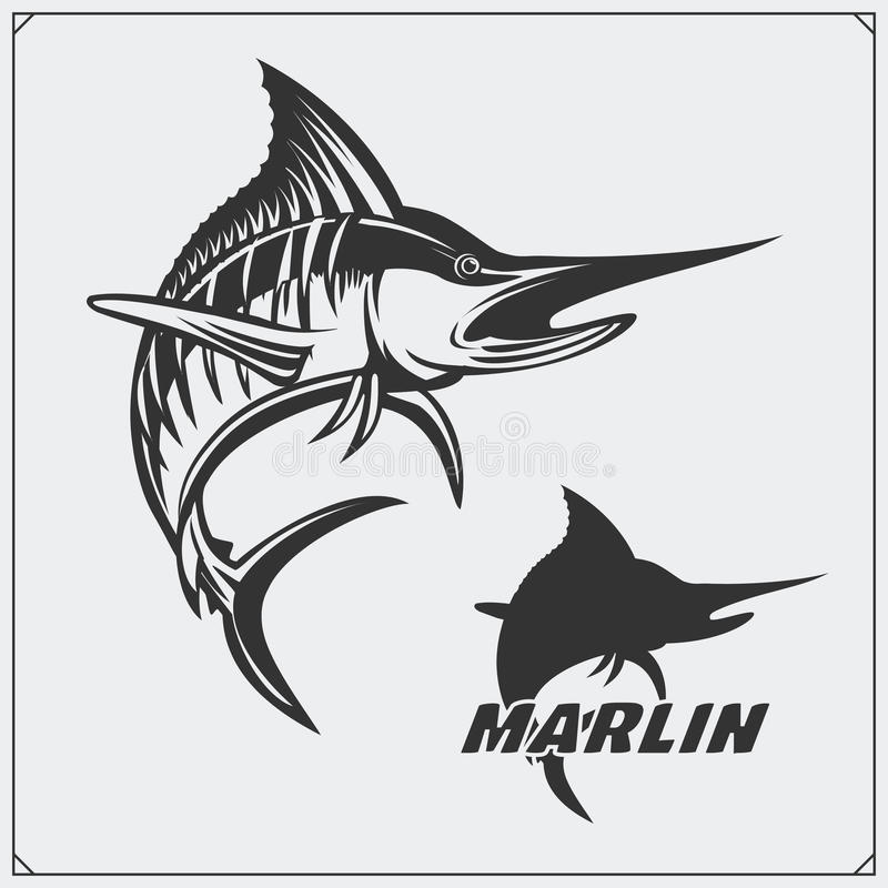 Vector illustration of a marlin fish and fishing design elements. vector illustration