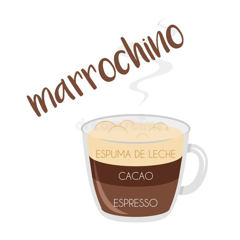 Marrochino coffee cup icon with its preparation and proportions and names in spanish. Vector illustration of a Marrochino coffee cup icon with its preparation vector illustration