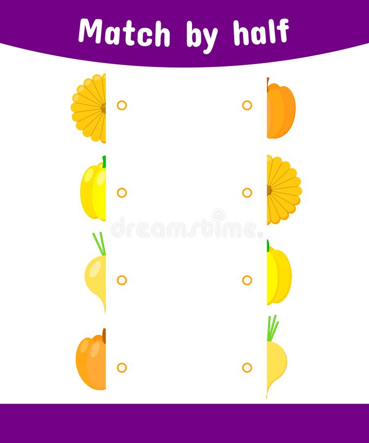 Matching game for children. Connect the halves of the vegetable. squash, peppers, turnips, pumpkin royalty free illustration