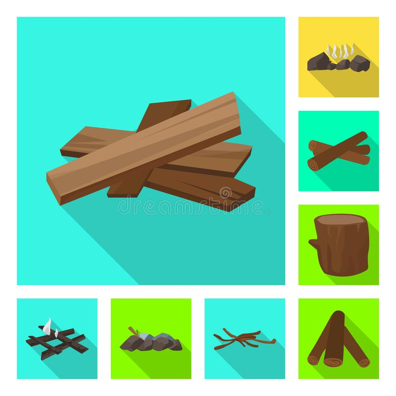 Vector design of material and logging symbol. Collection of material and forestry stock vector illustration. Vector illustration of material and logging sign stock illustration