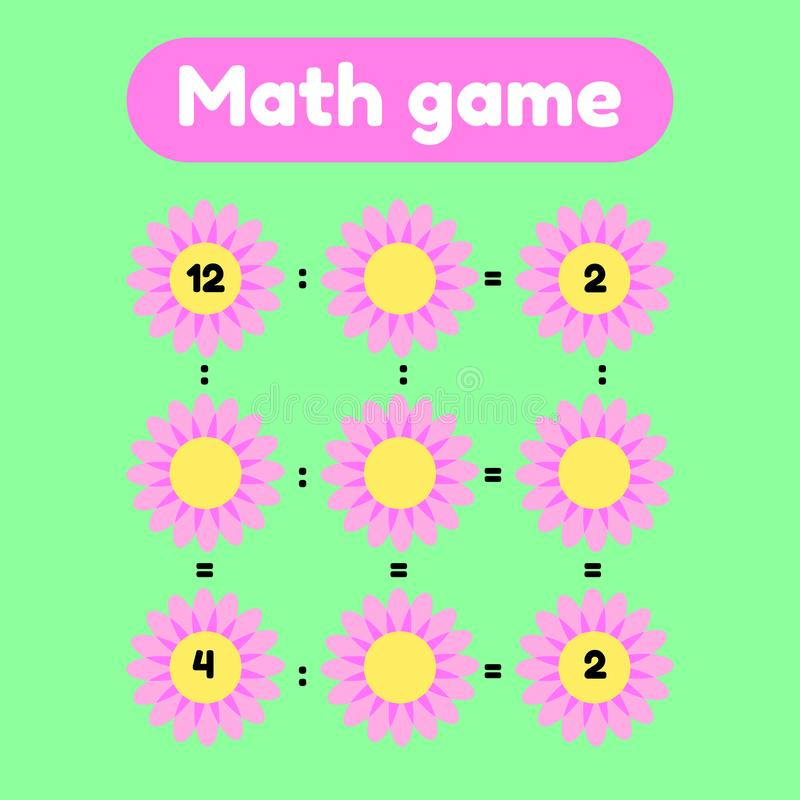 Math game for preschool and school age children. Count and insert the correct numbers. Division. Glade with pink flowers. vector illustration