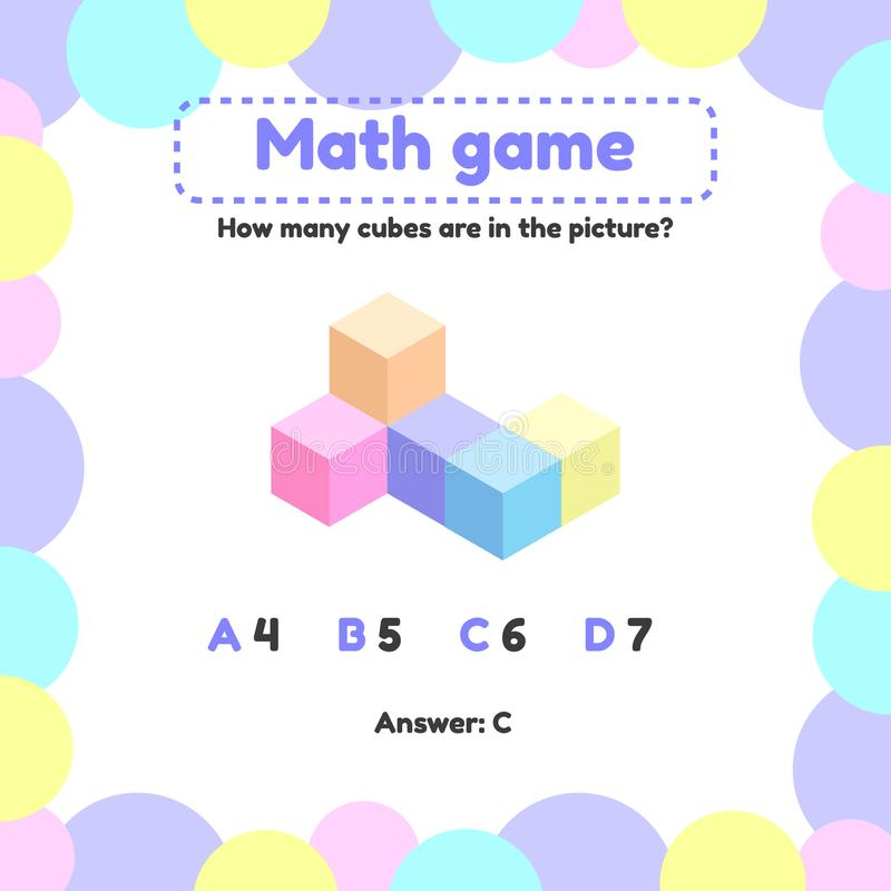 Illustration. Mathematical logic game for preschool and school age children. How many cubes in the picture. Vector illustration. Mathematical logic game for royalty free illustration