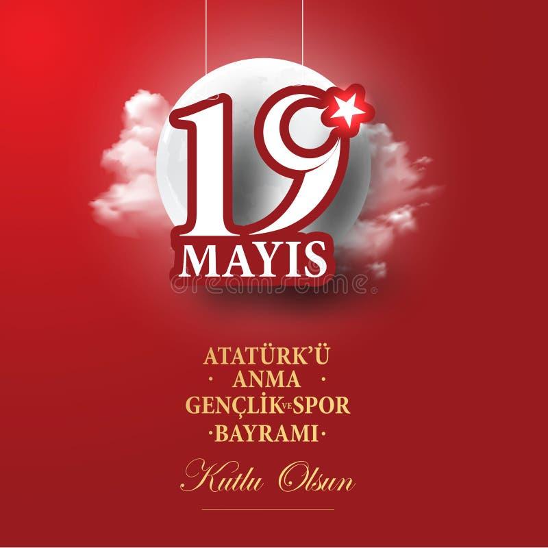 Vector Illustration 19 mayis Ataturk-` u Anma, Genclik VE Spor Bayramiz, ?bersetzung: 19 k?nnen Gedenken von Ataturk, von Jugend  vektor abbildung