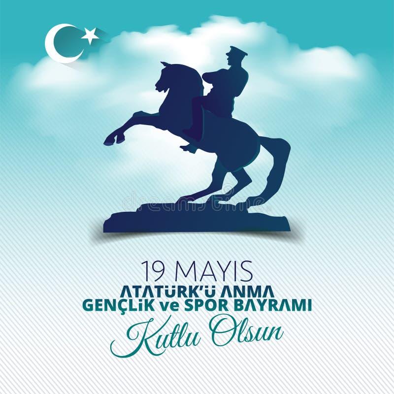 Vector Illustration 19 mayis Ataturk-` u Anma, Genclik VE Spor Bayramiz, ?bersetzung: 19 k?nnen Gedenken von Ataturk, von Jugend  lizenzfreie abbildung
