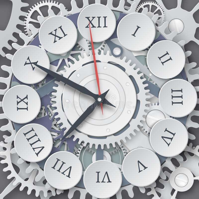 Vector illustration of mechanical watches. Roman dial of the watch royalty free illustration