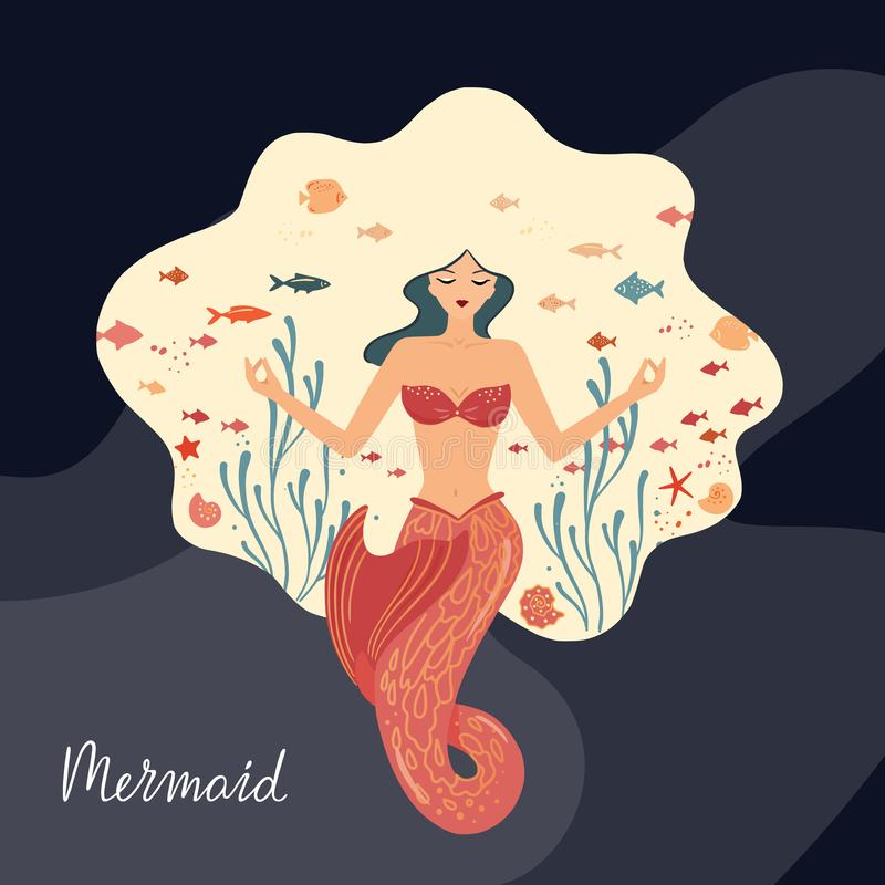 Vector illustration of a meditating mermaid with flowing hair at the bottom of the ocean. vector illustration