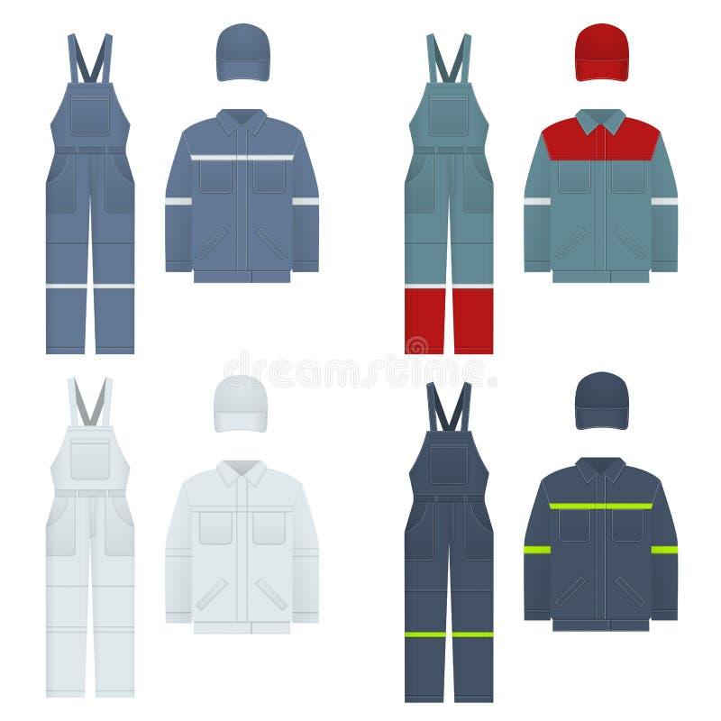 Vector illustration of men s overalls. Clothes in denim style, white, blue. Uniform for a worker, mechanic, driver. Loader, mechanic. Design template Vector vector illustration