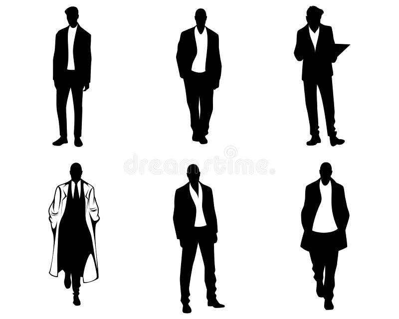 Men silhouettes on white background stock illustration