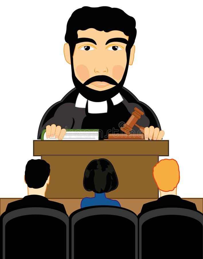 Vector illustration men to judges in courtroom. Man judge in courtroom on white background is insulated stock illustration