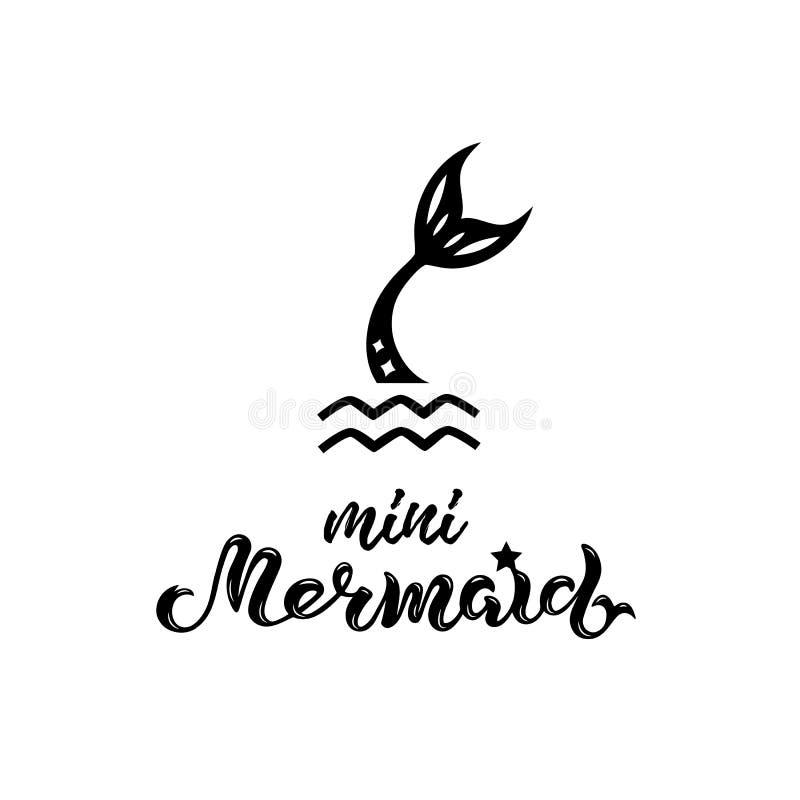 Vector illustration with Mermaid tail, Mermaid handwritten lettering stock illustration
