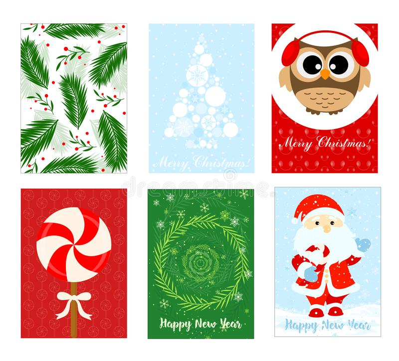 Vector illustration Merry Christmas greeting card set with Christmas tree, santa and owl in flat designs. vector illustration