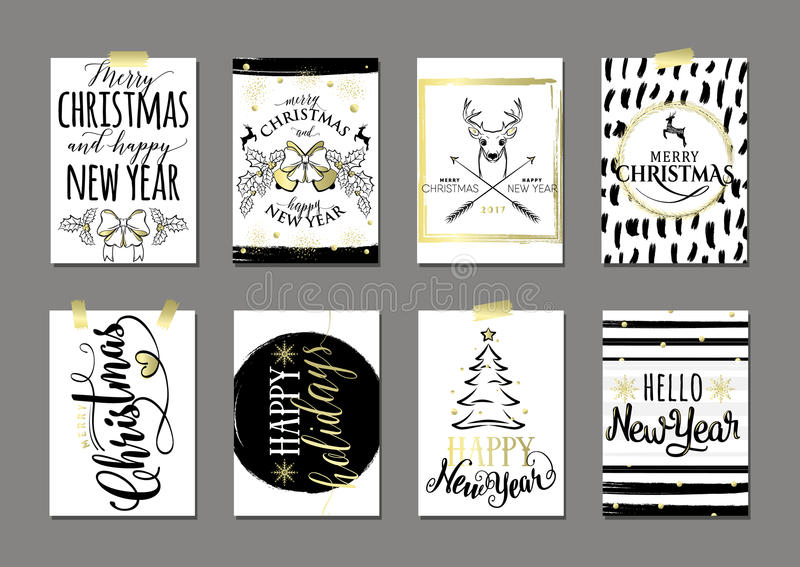Vector illustration of Merry Christmas and Happy New Year card set royalty free illustration