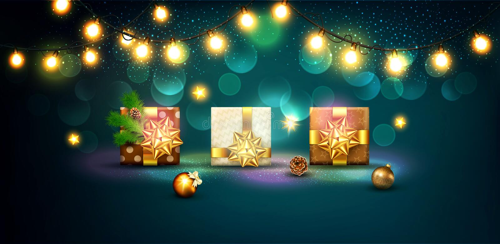 Vector illustration for Merry Christmas and Happy New Year . Gre. Eting card for New Year`s with standing three packaged gifts in boxes with a gold bows, balls vector illustration