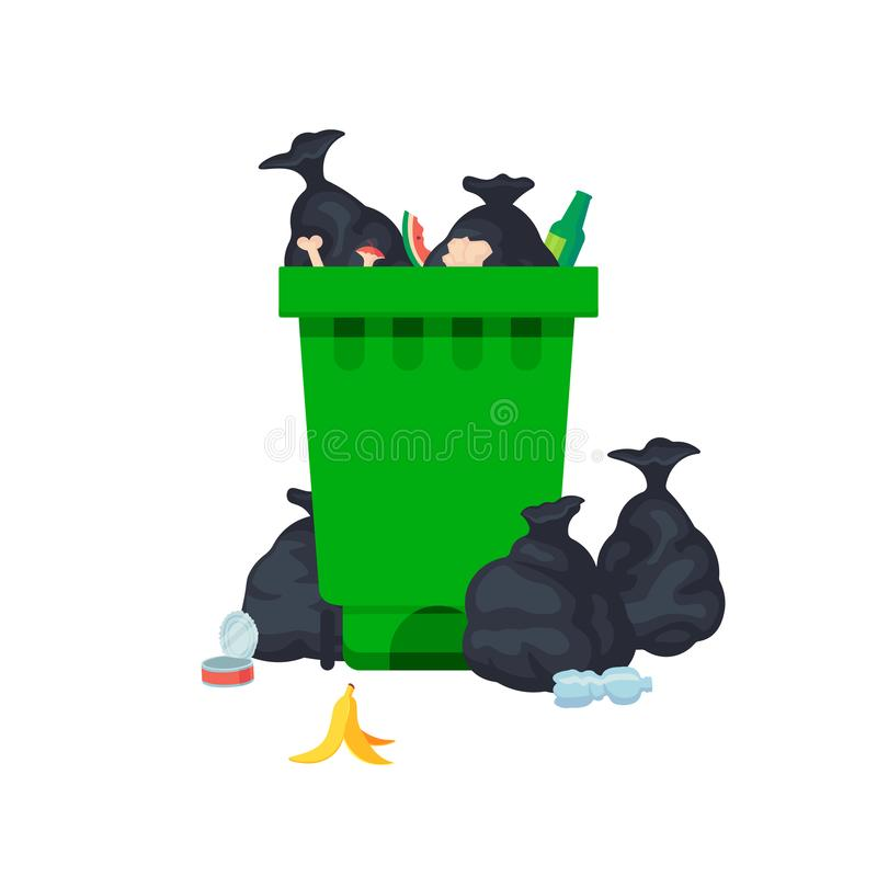 Vector illustration: garbage containers with unsorted trash . Rubbish and trash bags lying around dump. World. Vector illustration: Metal garbage containers with stock illustration