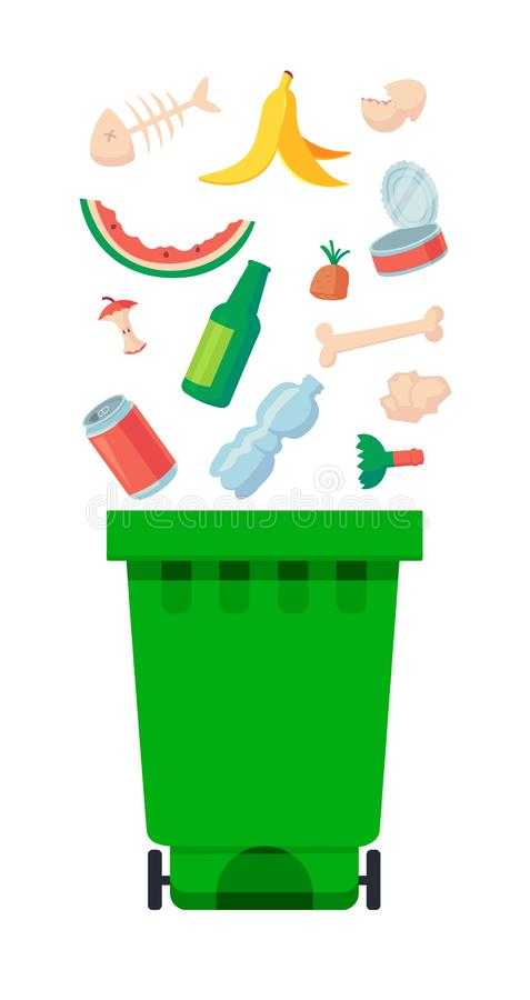 Vector illustration: garbage containers with unsorted trash . Rubbish and trash bags lying around dump. World. Vector illustration: Metal garbage containers with vector illustration