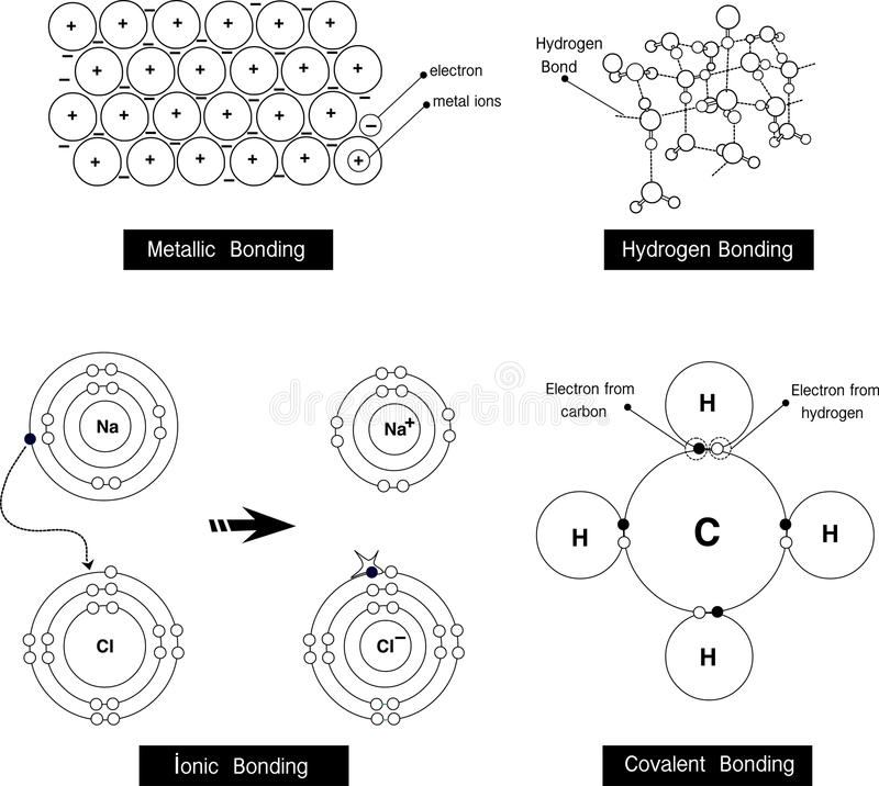 Vector illustration of a metallic bonding, hydrogen bonding,ionic bonding,covalent bonding royalty free illustration