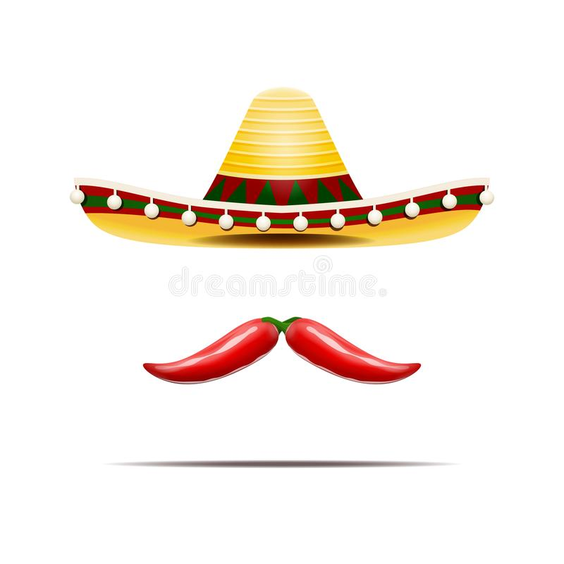 Vector illustration of mexican sombrero and chili peppers isolated. stock illustration