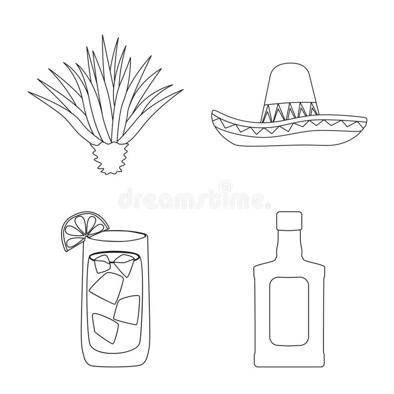 Vector illustration of Mexico and tequila logo. Collection of Mexico and fiesta vector icon for stock. Isolated object of Mexico and tequila icon. Set of Mexico vector illustration
