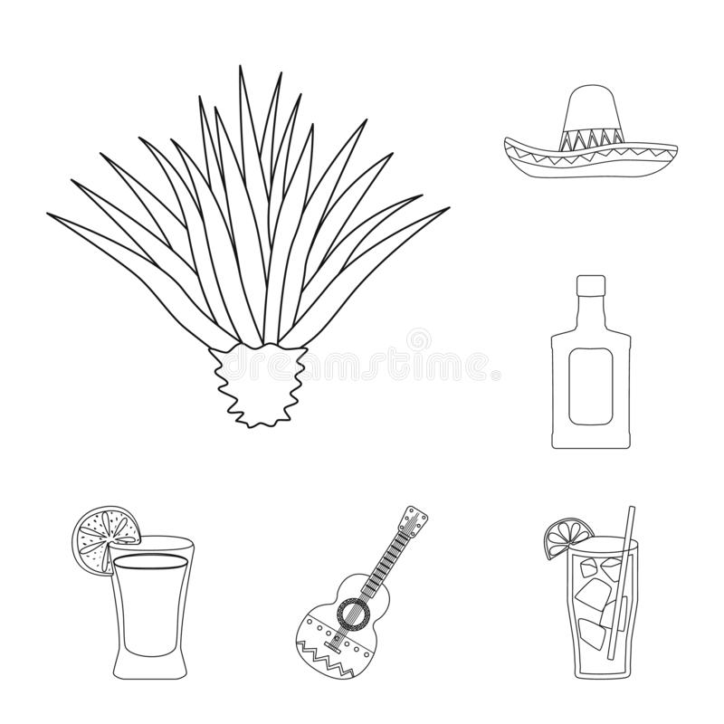Vector illustration of Mexico and tequila symbol. Set of Mexico and fiesta stock vector illustration. Isolated object of Mexico and tequila sign. Collection of stock illustration