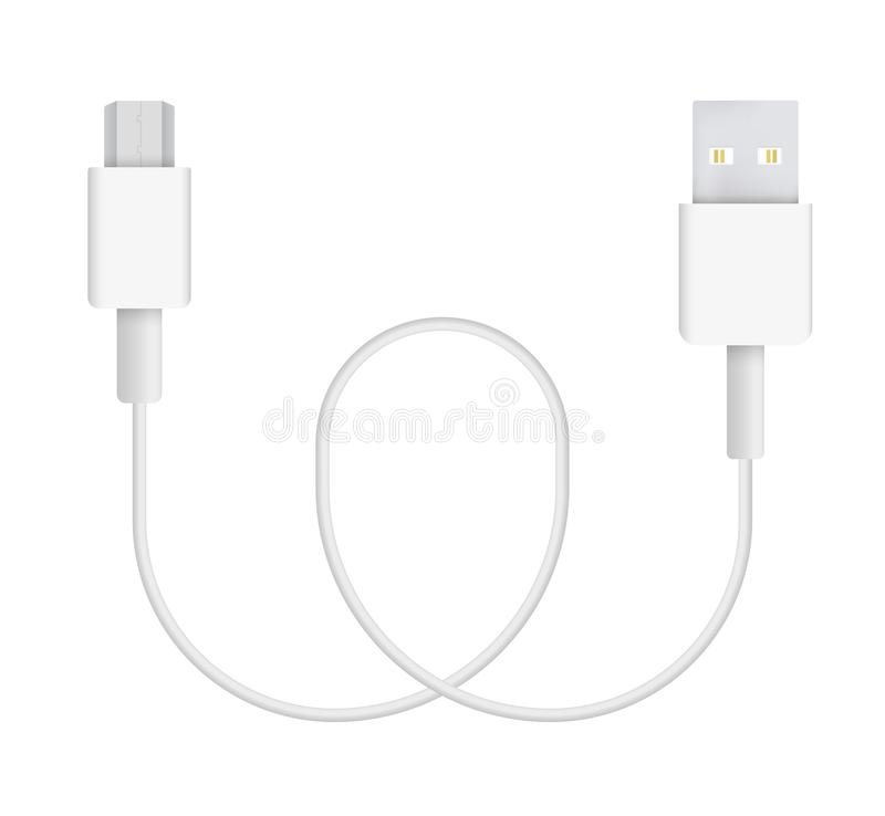 Vector Illustration of micro-USB Cable vector illustration