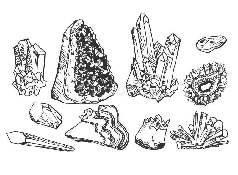 Crystals and gem stones vector illustration