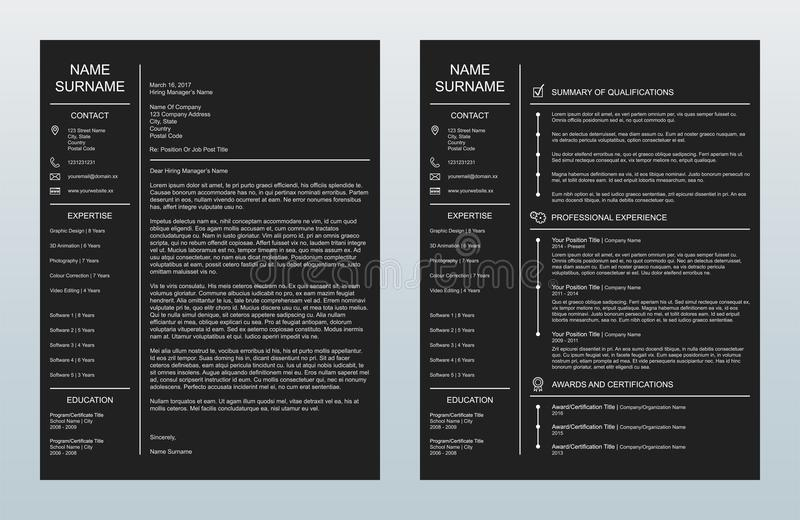 Vector Minimalist Creative Cover Letter And One Page Resume/CV Template On Charcoal Background. Vector illustration of a minimalist cover letter and single-page vector illustration