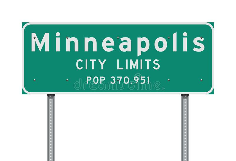 Minneapolis City Limits road sign. Vector illustration of the Minneapolis City Limits green road sign stock illustration