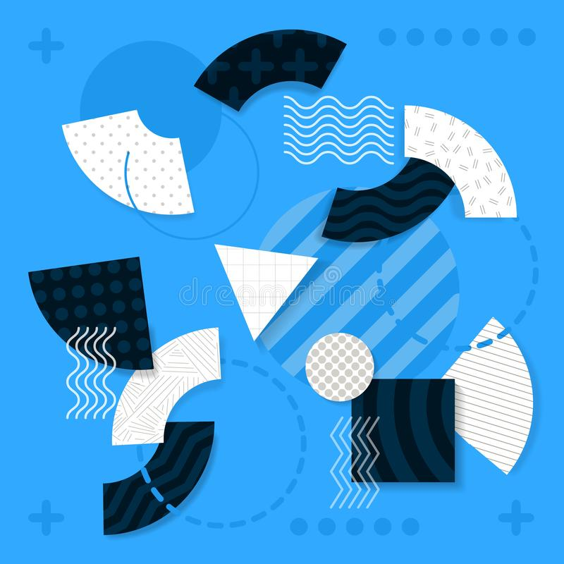 Illustrations of Geometric Shapes on Light Blue royalty free illustration