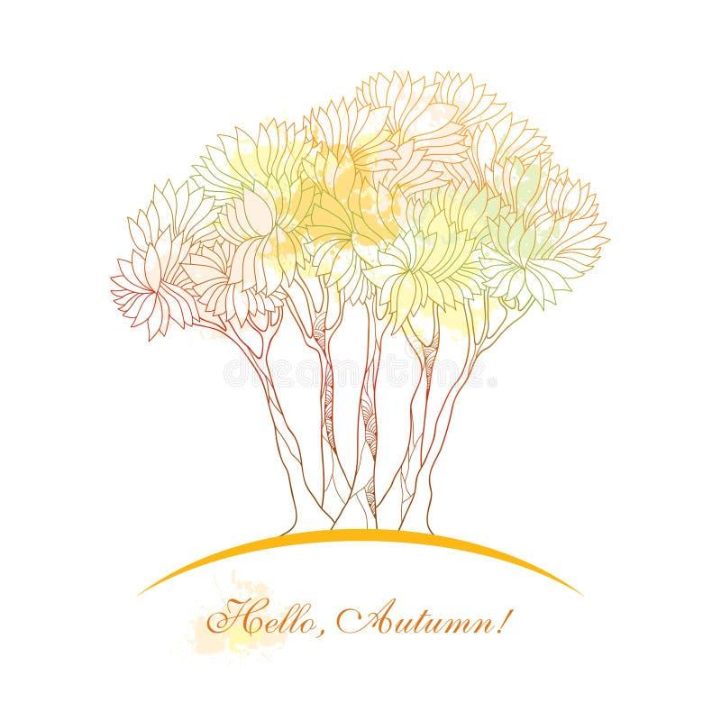 Vector Illustration mit abstraktem Herbstbaum mit Flecken im Pastell, der auf Weiß lokalisiert wird Konturnflorenelemente für Sep vektor abbildung