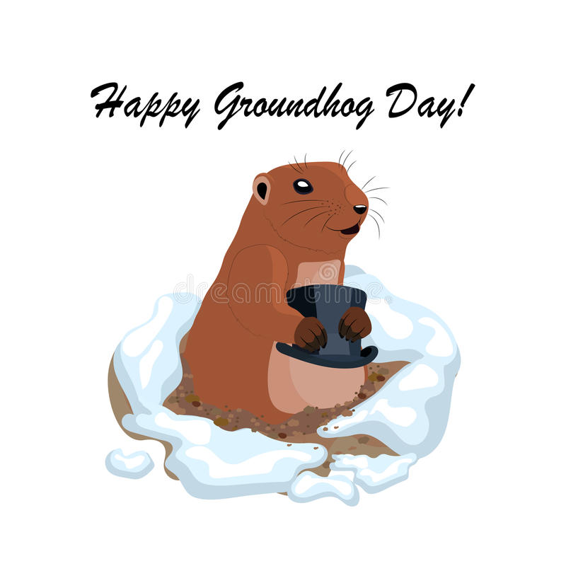 Vector Illustration mit dem netten groundhog, das schwarzen Hut aus einem Loch heraus hält stock abbildung