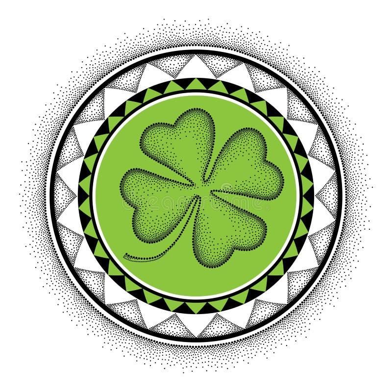 Vector Illustration mit dem punktierten glücklichen Klee oder dem Shamrock mit vier Blättern und die runde Mandala im Schwarzen u stock abbildung