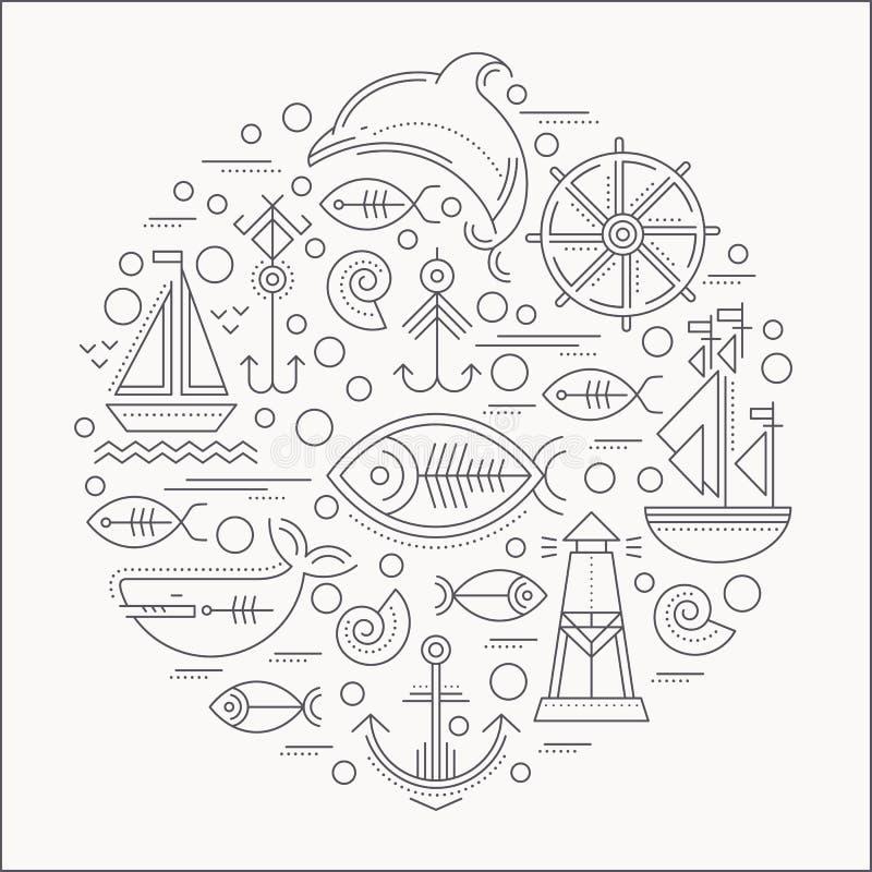 Vector Illustration mit den umrissenen Seeikonen, die einen Kreis bilden vektor abbildung