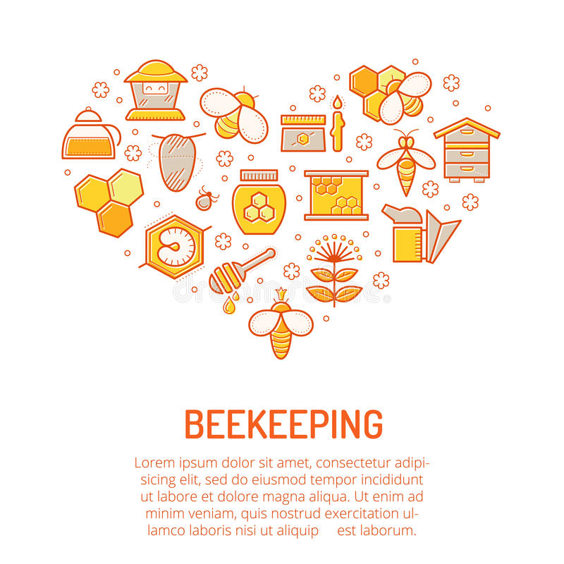 Vector Illustration mit gestrichenen bunten Honig- und Imkereiikonen stock abbildung