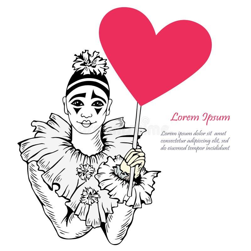 Vector Illustration mit Hand gezeichnetem Pierrot mit Herzen vektor abbildung