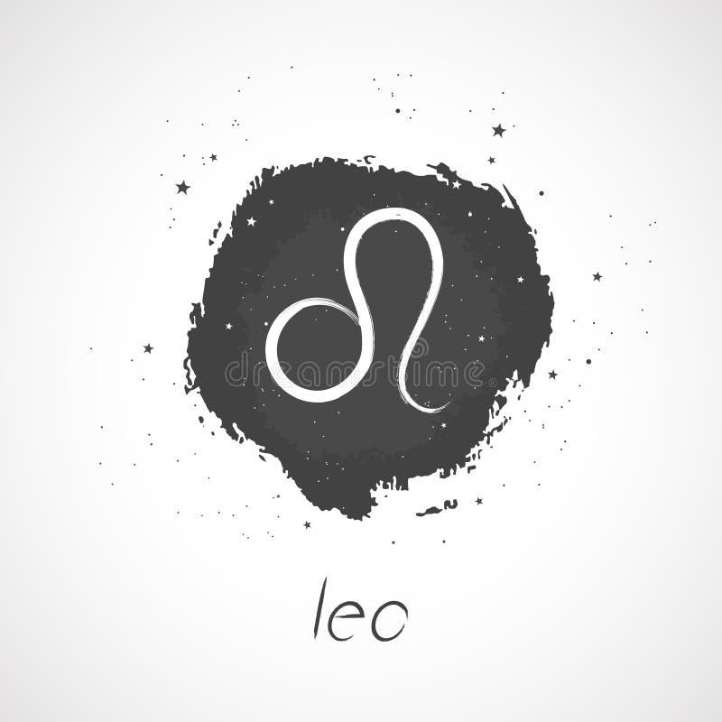Vector Illustration mit Hand gezeichnetem Sternzeichen LÖWE auf einem Schmutztintenhintergrund lizenzfreie abbildung
