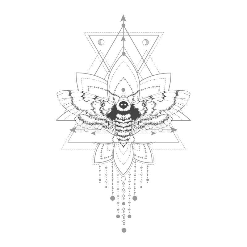Vector Illustration mit Hand gezeichneter Angussmotte und heiliges geometrisches Symbol auf weißem Hintergrund Abstraktes mystisc lizenzfreie abbildung