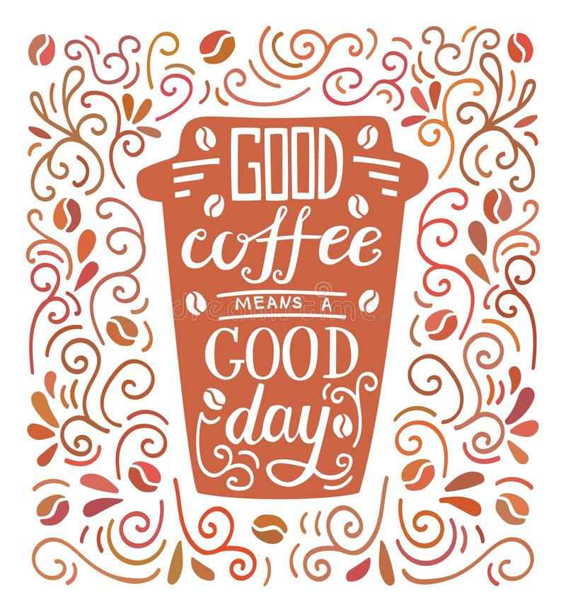 Vector Illustration mit Handbeschriftung, nehmen Sie Kaffeetasse weg und kritzeln Sie Strudel lizenzfreie abbildung
