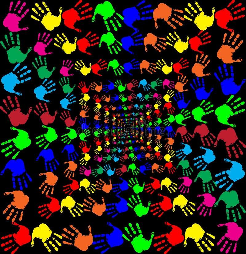 Vector Illustration mit mehrfarbigem handprints Muster auf blac lizenzfreie abbildung