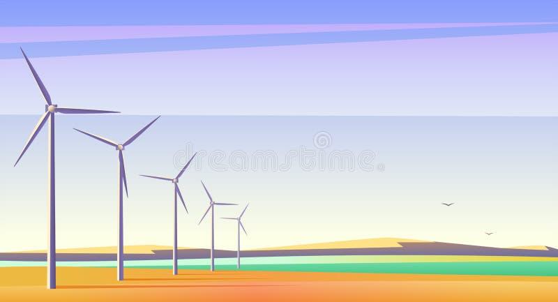 Vector Illustration mit Rotationswindmühlen für alternative Energiequelle auf dem geräumigen Gebiet mit blauem Himmel stock abbildung