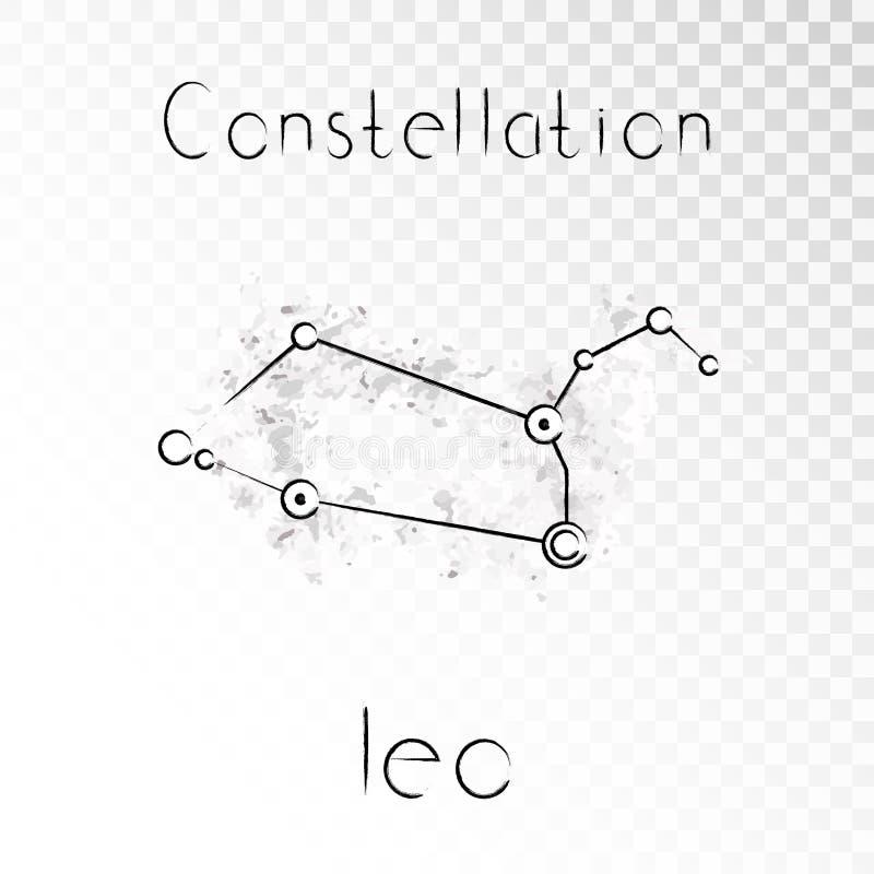 Vector Illustration mit Tierkreiskonstellation LÖWE auf einem Schmutztintenhintergrund stock abbildung